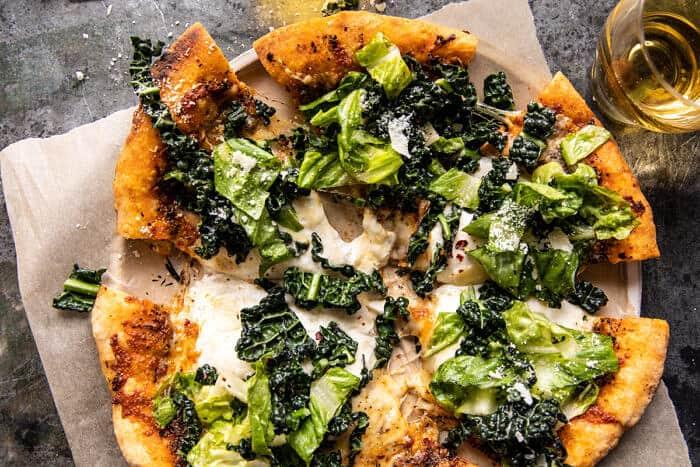 Burrata Caesar Saláta Pizza  halfbakedharvest.com