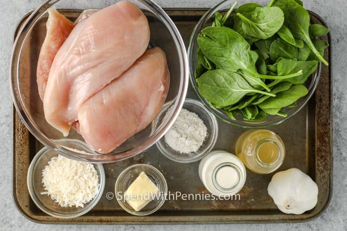összetevők spenótos töltött csirkemellek készítéséhez