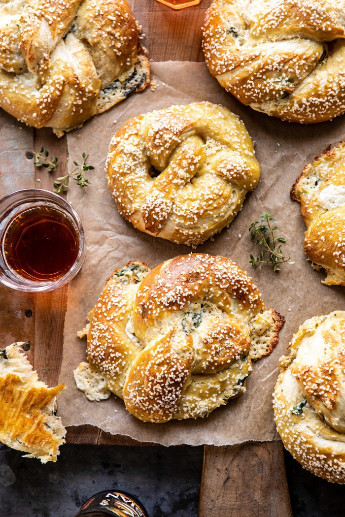 Spinach and Artichoke Stuffed Soft Pretzels | halfbakedharvest.com #softpretzels #appetizer #easyrecipes #pretzels #snacks