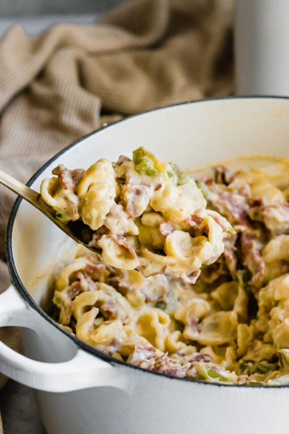 Spoonful roast beef mac and cheese.