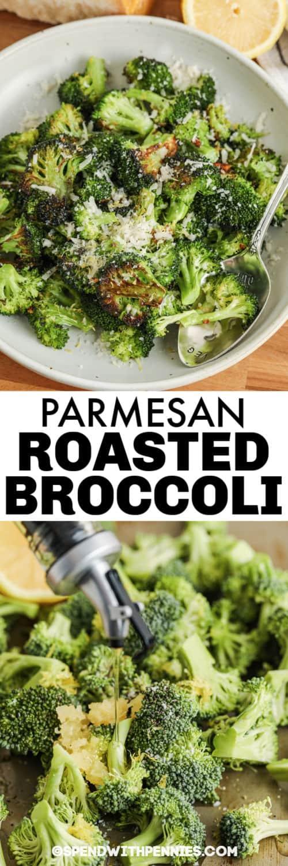 olajat öntve a brokkolira és a sütőben sült citromos parmezán brokkolira címmel