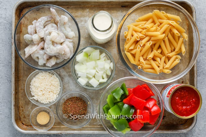 hozzávalókat a Cajun garnélarák tészta elkészítéséhez