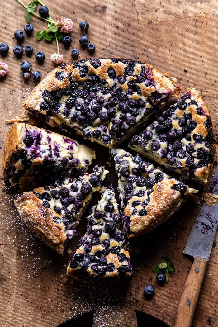 Simple Blueberry Basque Cheesecake   halfbakedharvest.com #cheesecake #blueberries #cake #easyrecipes