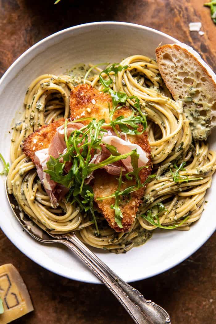 Basil Parmesan Pasta with Crispy Chicken, Prosciutto, and Arugula   halfbakedharvest.com