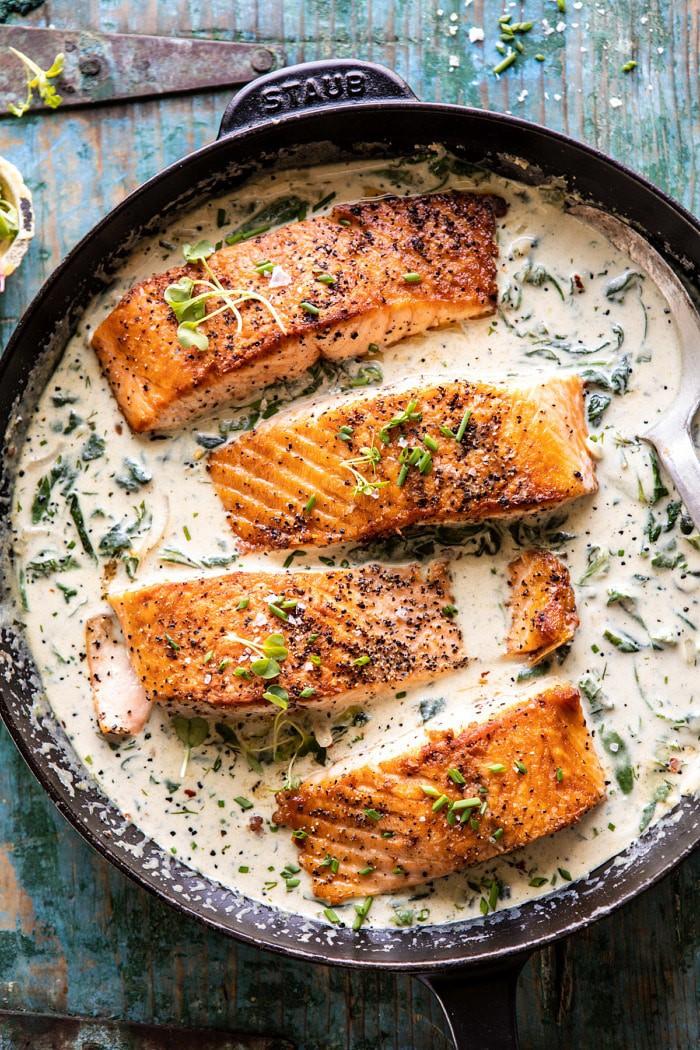 Garlic Butter Creamed Spinach Salmon   halfbakedharvest.com #salmon #easyrecipes #seafood #dinner