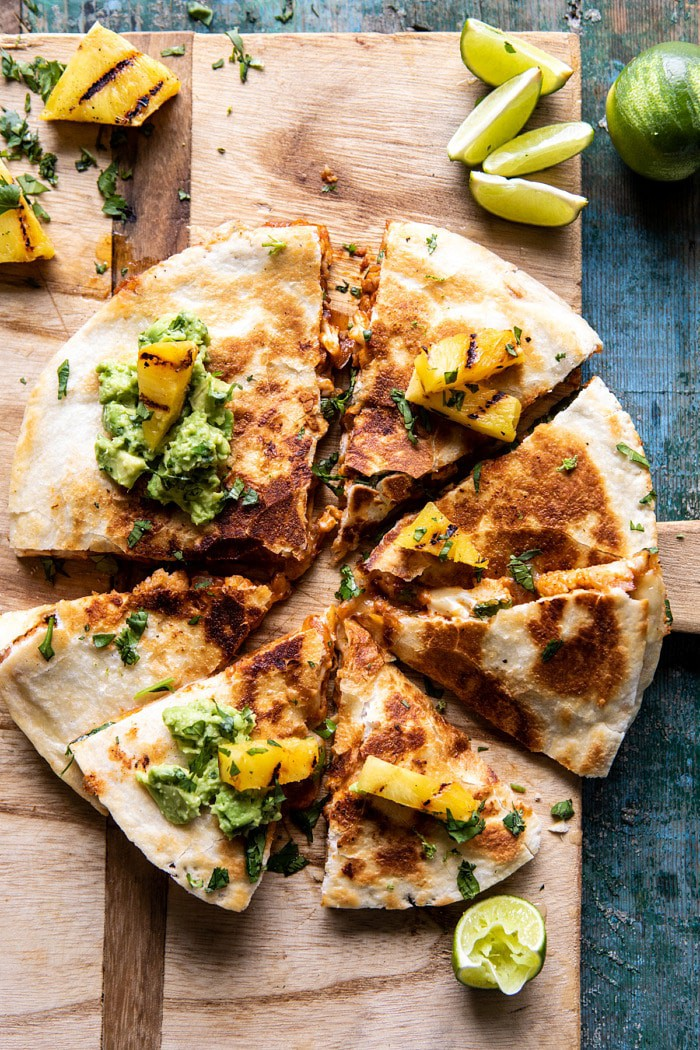 Cauliflower Al Pastor Quesadillas with Lime Smashed Avocado   halfbakedharvest.com #vegan #Mexican #cauliflower #pineapple #sandwich #easyrecipes #cheese