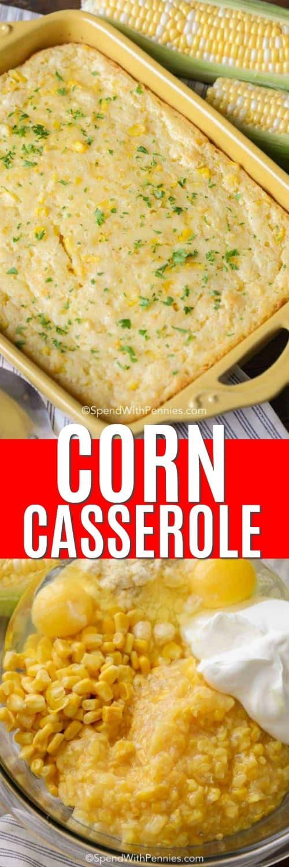 Kukorica rakott hozzávalók egy tálban és kukorica rakott egy címmel ellátott edényben