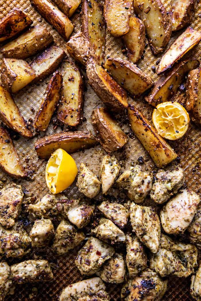felső kép pentos pesto csirke és citrom vajas burgonya sütés után