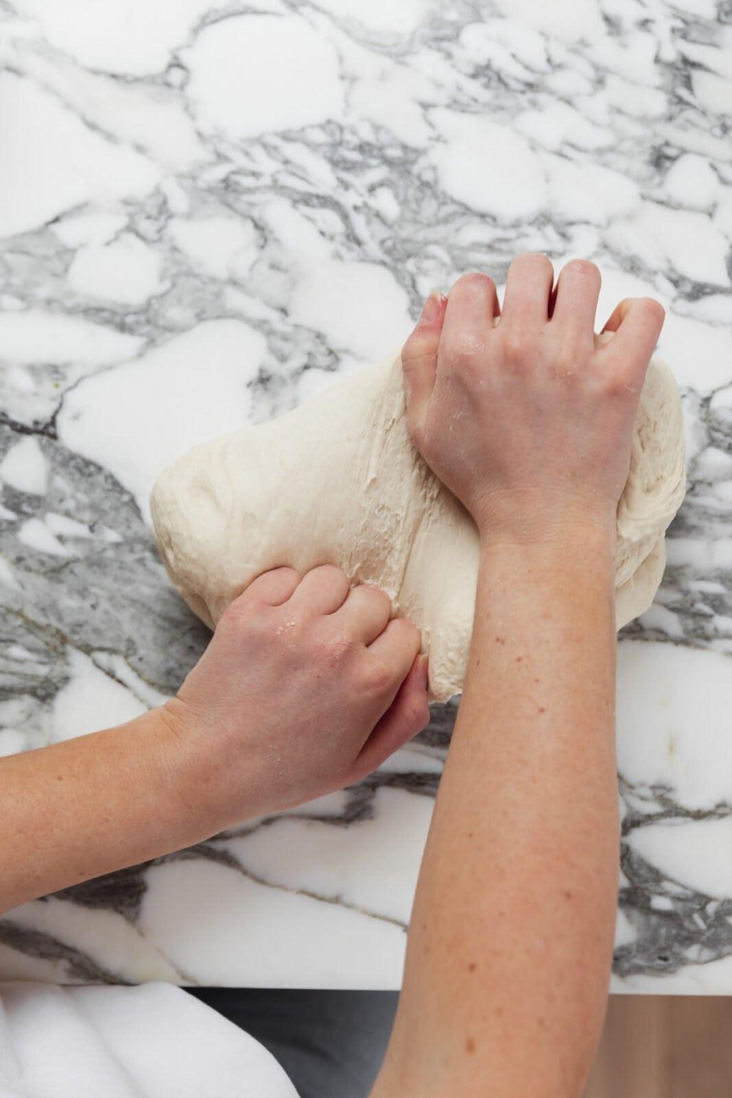 kneading bagel dough