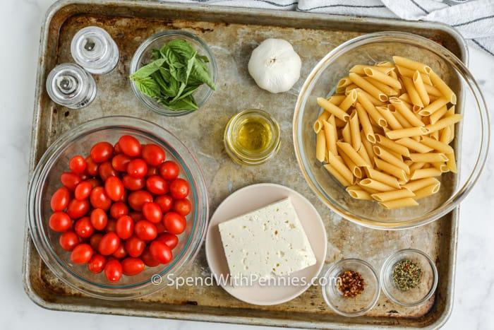 összetevők a sült feta tészta elkészítéséhez