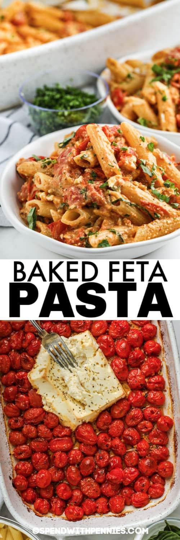 Hozzávalók egy edényben, hogy sült feta tészta legyen bevonva edénnyel és címmel