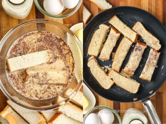 a kenyér bevonásának és a serpenyőben történő főzés folyamata francia pirítós botok készítéséhez