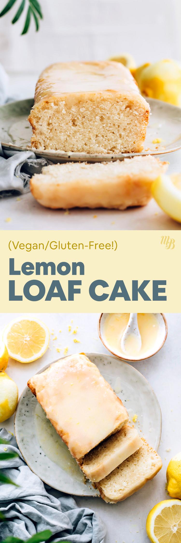 Szelet vegán és gluténmentes citrom kenyér sütemény egy tányérra, citrom jegesedéssel