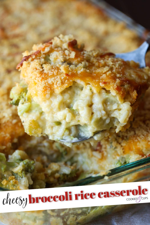 Serving of homemade cheesy broccoli rice casserole.