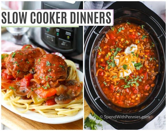 csirke és tészta egy tányérra, és leves egy lassú tűzhelyben