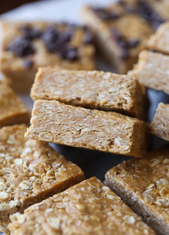 No Bake Peanut Butter Oatmeal Bars cut into squares