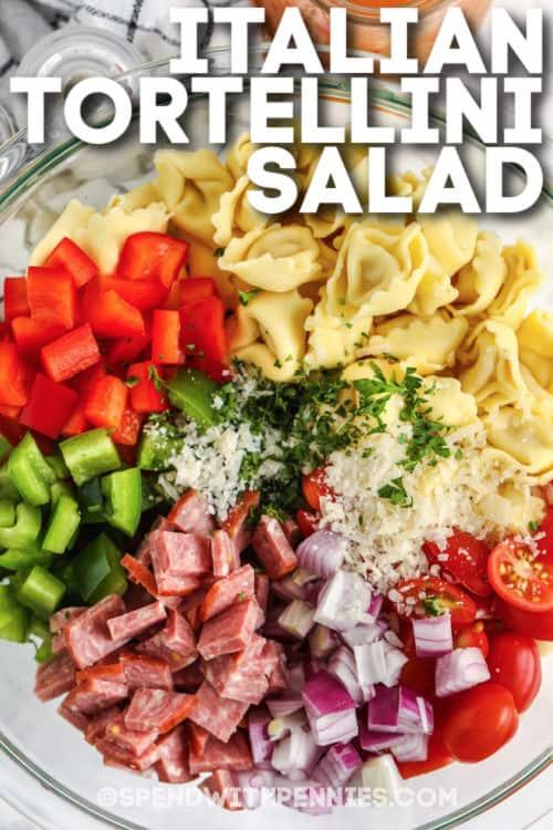 Olasz Tortellini saláta hozzávalók egy tálban címmel