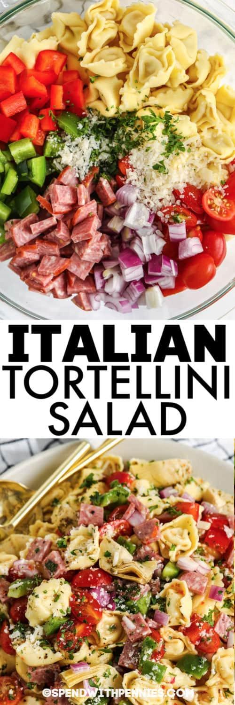 Olasz Tortellini saláta címmel való keverés előtt és után