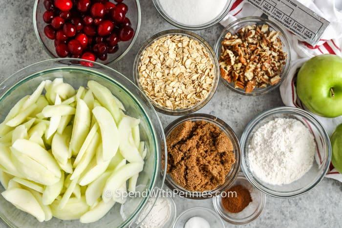 Hozzávalók az áfonyás alma ropogós elkészítéséhez