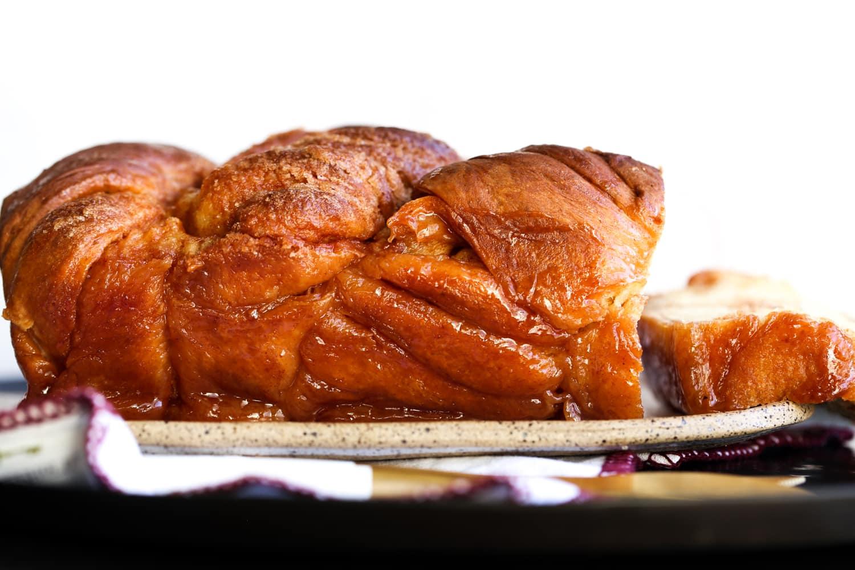 Baked cinnamon babka loaf.