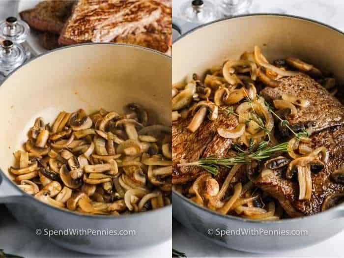 hozzávalókat hozzáadva a fazékhoz a Round Steak és a Gomba elkészítéséhez