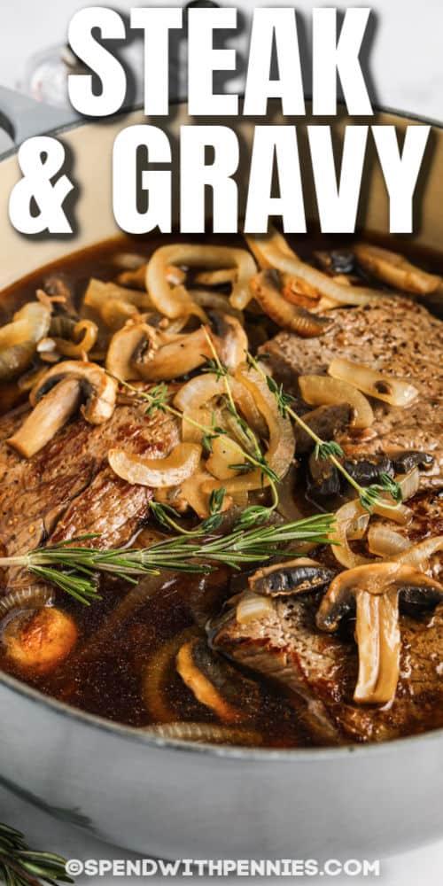 Kerek steak és gomba írással