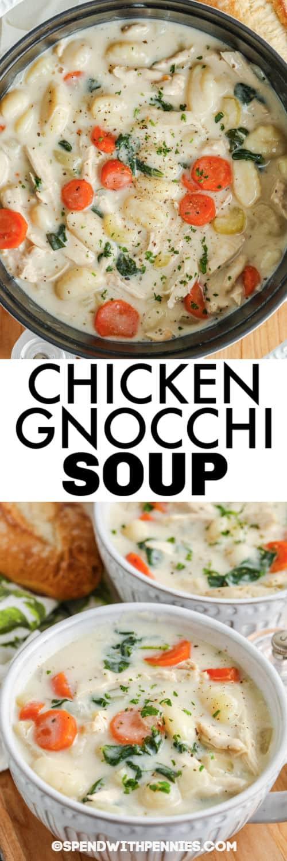 Csirke Gnocchi leves egy edényben, és címmel tálakba borítva