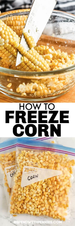 kukoricát vágnak egy tálba és egy zacskóba, hogy bemutassák a Hogyan fagyasztjuk le a kukoricát címmel