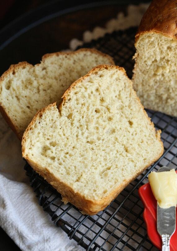 Slices of honey oat bread.