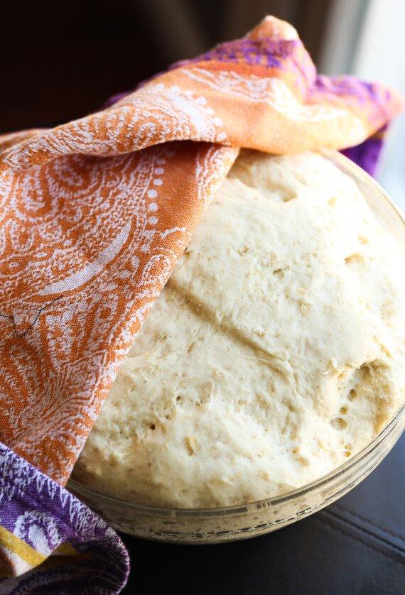 Risen honey oat bread dough.