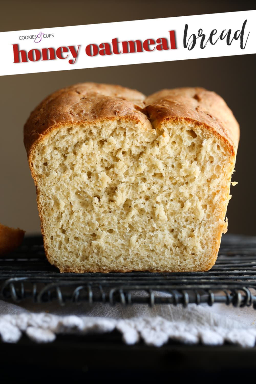 No knead honey oatmeal bread Pinterest image.