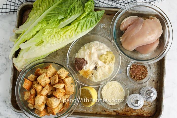 csirke cézár saláta készítéséhez szükséges összetevőket