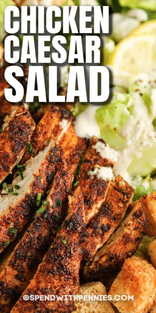 közelről a csirke cézár saláta címmel