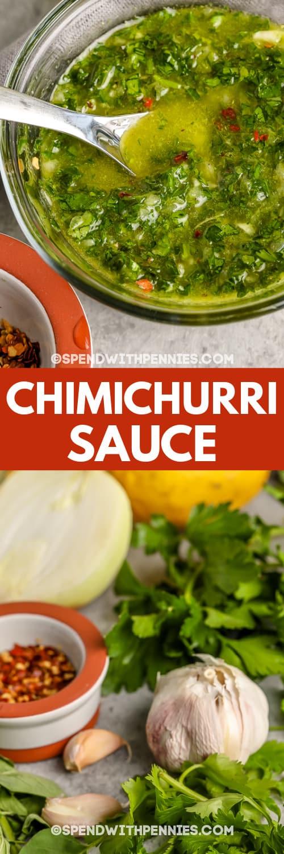 Chimichurri mártás hozzávalók és Chimichurri mártás egy tálba írással