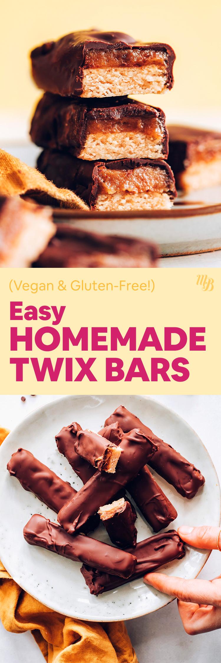 Verem és tányér vegán és gluténmentes házi készítésű twix rudakat