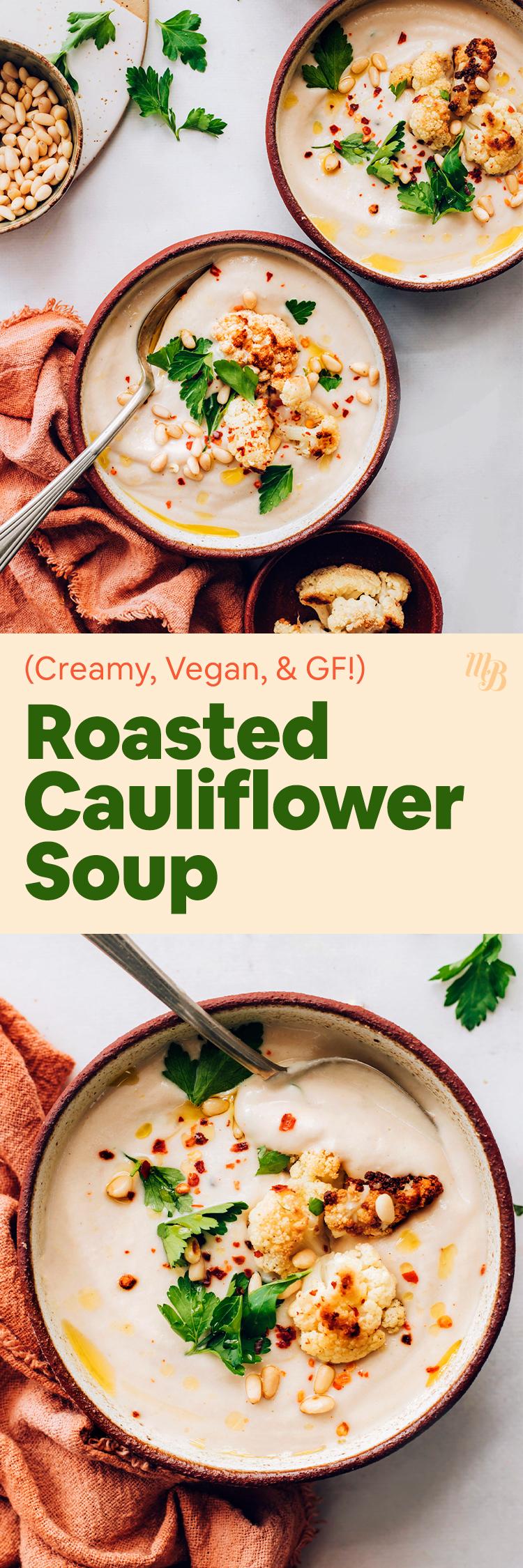 Tál vegán és gluténmentes sült karfiolleves sült karfiol, fenyőmag és koriander darabokkal