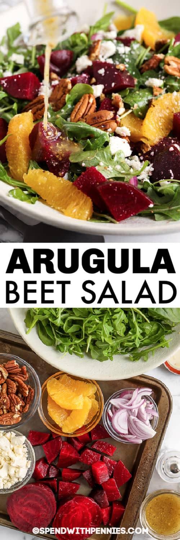 Hozzávalók a sült saláta kitûnõ répasaláta elkészítéséhez tálalva edénnyel és címmel