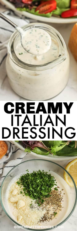 folyékony összetevők hozzáadása a tálhoz, hogy krémes olasz öntettel készüljön