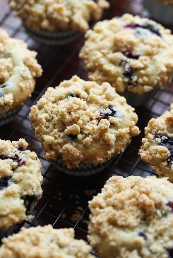 Blueberries and Cream Muffins topped with crumb topping