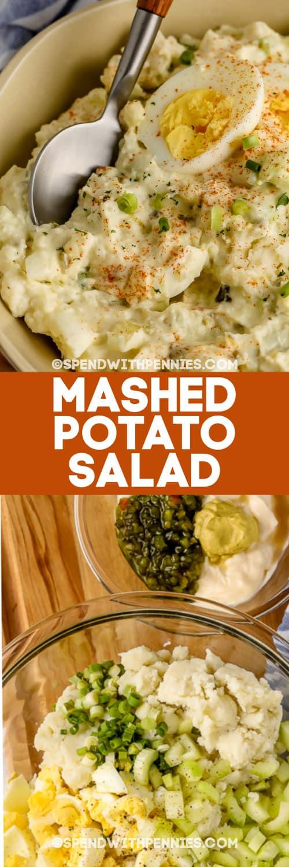 Burgonyapüré saláta hozzávalók tálakban és Krumplipüré saláta címmel edényben