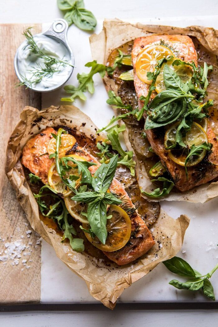 Parchment Baked Lemon Salmon and Potatoes with Dill Yogurt | halfbakedharvest.com #healthy #recipe #salmon #easyrecipe