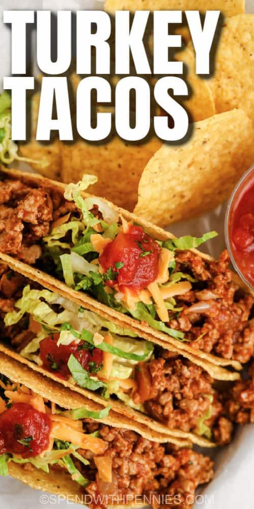 közelről az Easy Turkey Tacos címmel