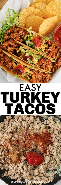 főző pulyka és Easy Turkey Tacos címmel borítva