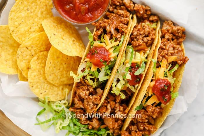 felülnézet Easy Turkey Tacos