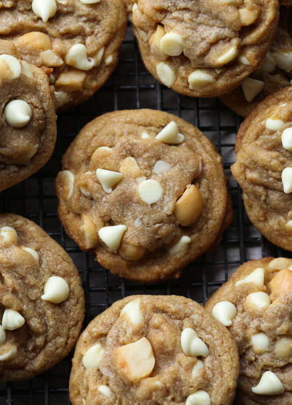 White Chocolate Macadamia Nut Cookies are loaded with creamy shite chocolate chips and salty macadamia nuts