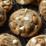 White Chocolate Macadamia Nut Cookies on a wire cooling rack