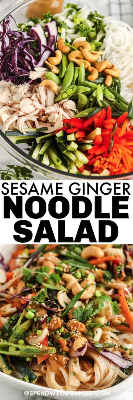 Szezám gyömbéres tészta saláta hozzávalók egy tálba és címmel bevonva