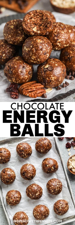 Csokoládé energiagolyók egy tepsire és címkével borítva