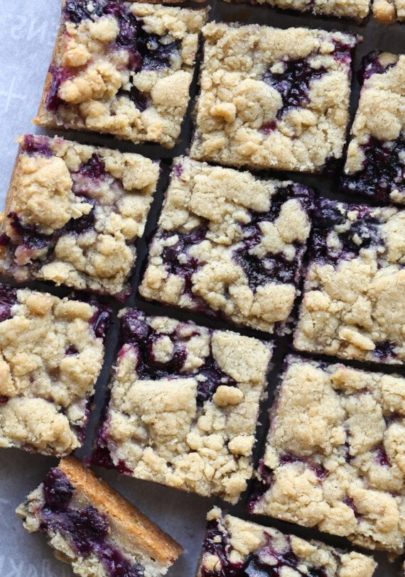 Blueberry Crumble Bars cut into squares from above