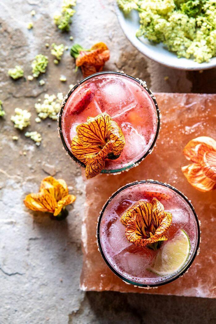 Strawberry Hibiscus Ginger Margarita   halfbakedharvest.com #cocktail #margarita #tequila #drinks